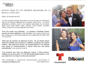 Silvana Arias en los Billboards 2014