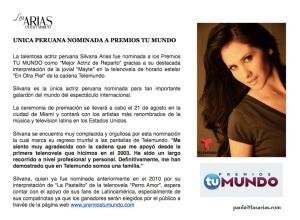 Silvana Arias Unica PERUANA nominada en Premios Tu Mundo